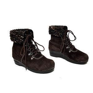 Dansko Brown Suede Multi-Color Knit Cuff Boots